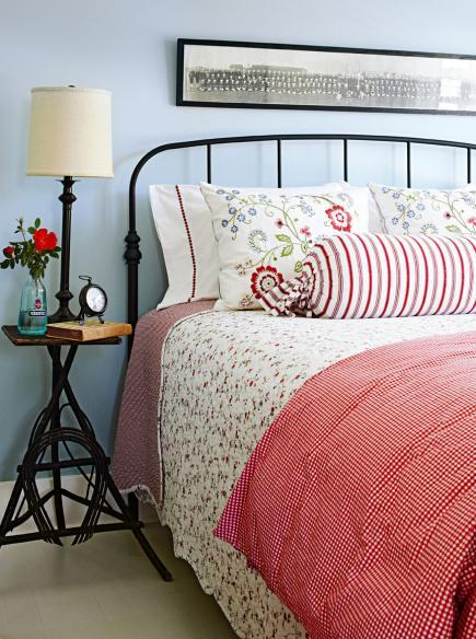 Restful farmhouse-style bedroom