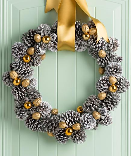 silver and gold pinecone wreath - How To Decorate Pine Cones For Christmas Ornaments
