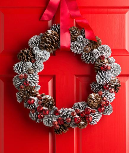 snow dusted pinecone wreath
