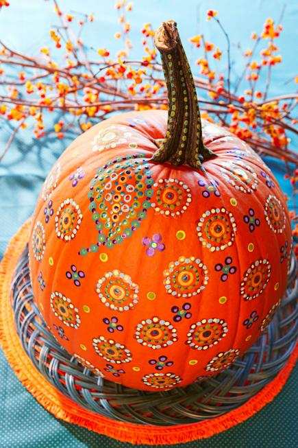 Easy painted pumpkins midwest living Easy pumpkin painting patterns
