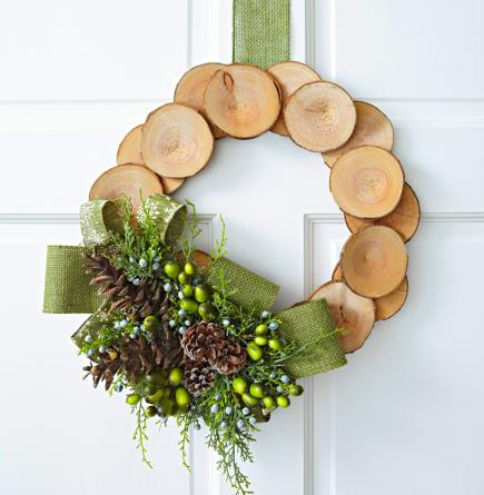 natural wreath - How To Decorate Artificial Christmas Wreath