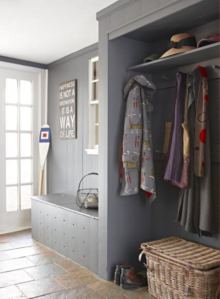 Attractive Gray Built In Storage Adds A Clean Modern Look To This Mudroom.