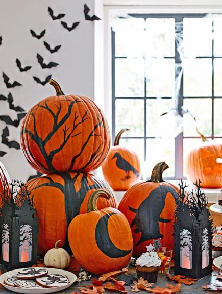 Halloween Halloween decorating. Painted pumpkins & 30 Halloween Decorating Ideas   Midwest Living