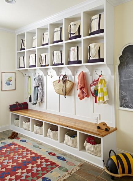Mudroom Uses Canvas Tote Bags As Storage.