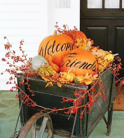 welcome pumpkin - Fall Pumpkin Decorations