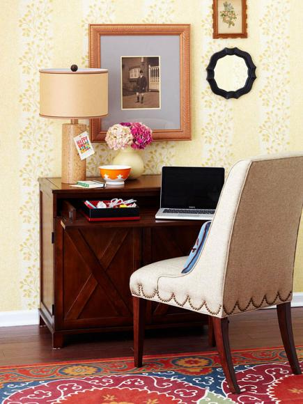 Office desk in living room Master Bedroom Flexible Workspace Midwest Living 20 Ways To Create Home Office Space Midwest Living