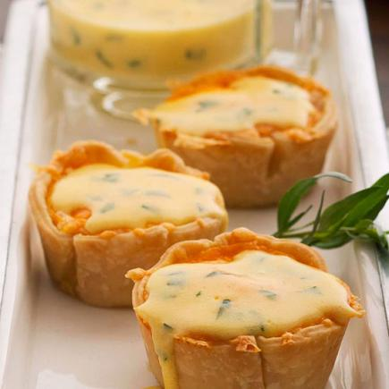 Mini Egg Pastries with Bearnaise Sauce