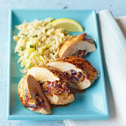 Grape-Stuffed Chicken with Lemon Orzo