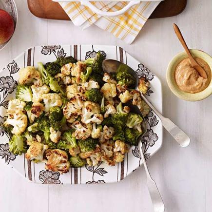 Roasted Cauliflower and Broccoli with Spicy Yogurt Sauce