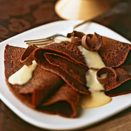 Chocolate Crepes with Nutmeg Vanilla Sauce