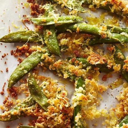 Crunchy Parmesan Sugar Snap Peas