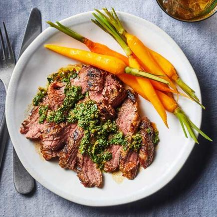 Flank Steak with Carrot Top Salsa Verde