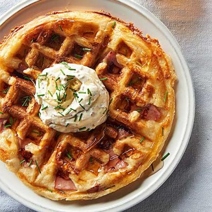 Ham and Swiss Waffles with Mustard Sour Cream