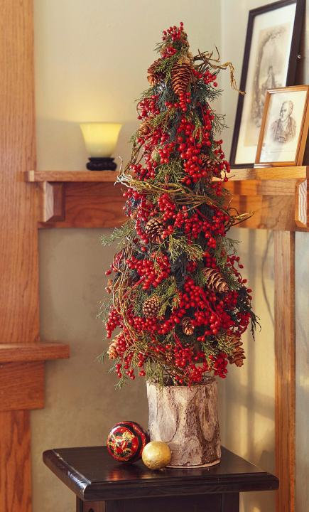 Tabletop, Christmas, Christmas decorating, DIY Christmas. Red tree