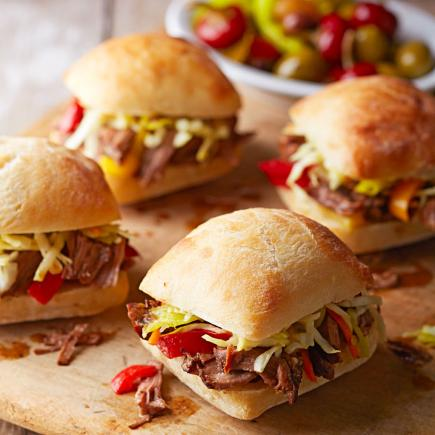 Mini Italian Beef Sandwiches with Pepperoncini Slaw
