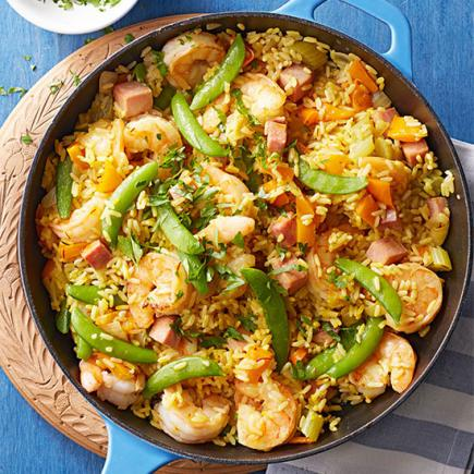 45 easy summer dinner recipes midwest living paella style rice with ham and shrimp forumfinder