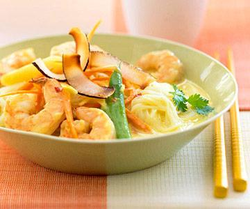 Curried Coconut Shrimp on Rice Stick Noodles recipe