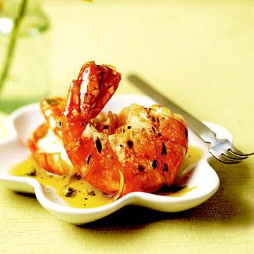 Salt-Crusted Shrimp with Greek Dipping Sauce
