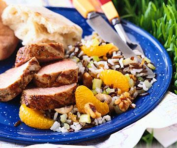 Lemony-Soy Herbed Pork Tenderloins with Rice Pilaf