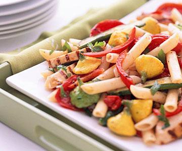 Grilled Chicken and Garden Vegetable Penne Pasta with Oven-Roasted Tomatoes