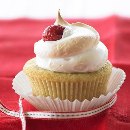 Meringue-Topped Raspberry Cupcakes