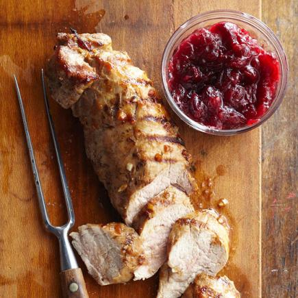 Grilled Pork with Cranberry Chutney