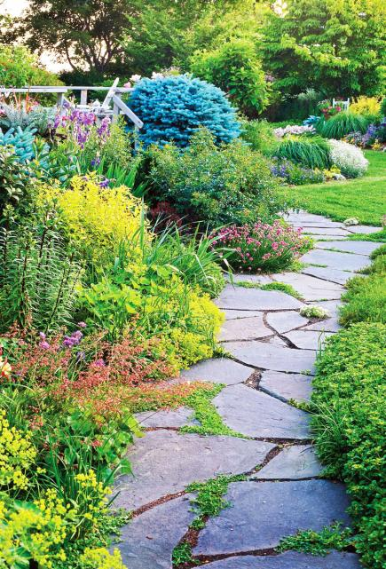 Backyard Path Ideas 1 clean stone and wood ladder effect 9 Ways To Create A Garden Path