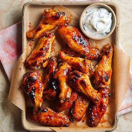 Sticky, Kicky Chicken Wings with Cilantro Yogurt