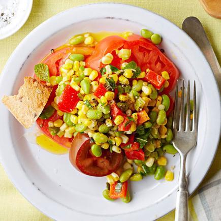 Tomato Salad with Edamame Succotash