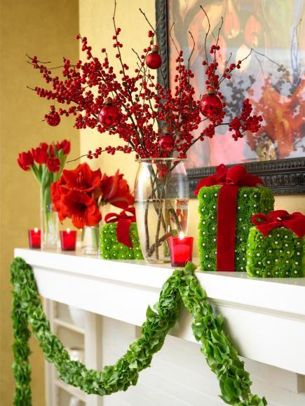 flower power - Christmas Mantel Decorating Ideas