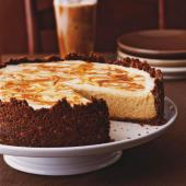 Pumpkin Cheesecake with a Caramel Swirl