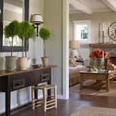 Rustic elements in a farm-style living room