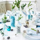 Christmas centerpiece ideas: glass bottles