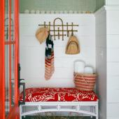Mudroom with upholstered bench