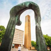 Eliel Saarinen's First Christian Church and Henry Moore's Large Arch sculpture