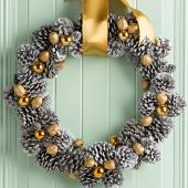 Silver and gold pinecone wreath