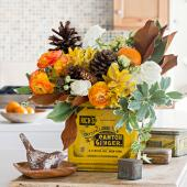 Autumn tin centerpiece