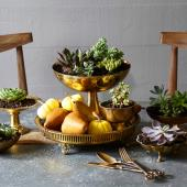 Brass accents Thanksgiving centerpiece