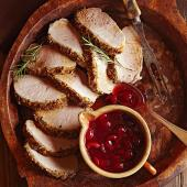 Lemon-Rosemary Pork Loin with Cherry Sauce