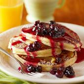 Lemon Ricotta Pancakes with Warm Blueberry Compote
