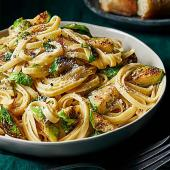Buttered Fettucine with Brussels Sprouts and Parmesan