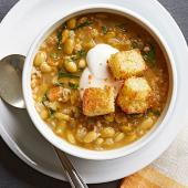 Chili Verde with Corn Bread Croutons