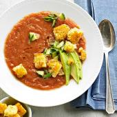 Chilled Tomato Soup with Corn Bread Croutons