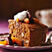 Cornmeal Pumpkin Cake with Dried Fruit Compote