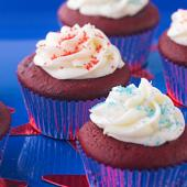 Firecracker-Red Cupcakes with Coconut Filling