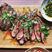 Flatiron Steak with Fresh Herb Butter Sauce
