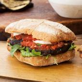 Grilled Eggplant and Mozzarella Hero with Spicy Tomato Sauce and Basil Pesto