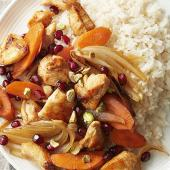 Mediterranean Chicken-Pomegranate Stir-Fry
