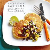 Mexican Cornmeal Pancakes with Black Bean and Pineapple Salsa