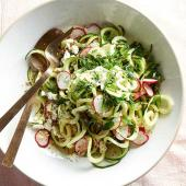 Minty Zoodle Salad with Radishes and Feta